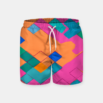 Imagen en miniatura de geometric square pixel pattern abstract in pink orange green Swim Shorts, Live Heroes