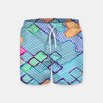 geometric square pixel pattern abstract in blue pink orange Swim Shorts thumbnail image