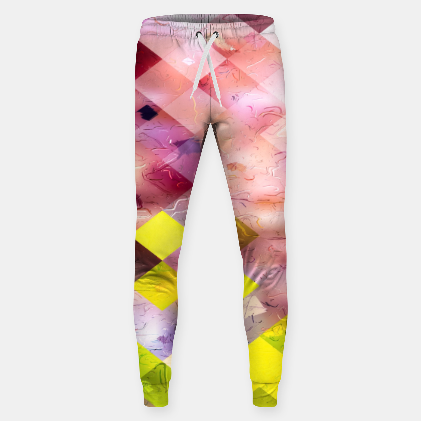 Image of geometric square pixel pattern abstract in green yellow purple Sweatpants - Live Heroes