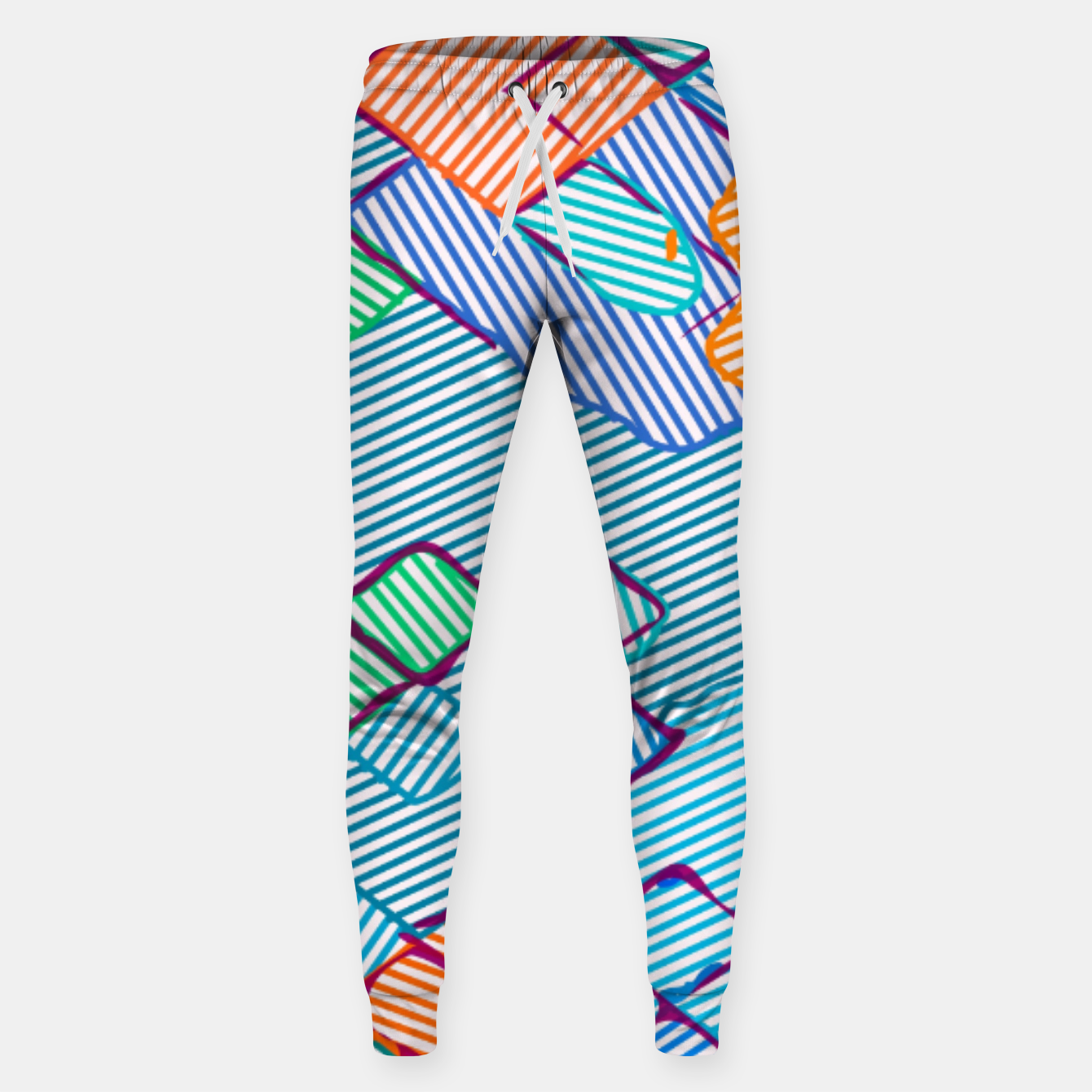 Image of geometric square pixel pattern abstract in blue pink orange Sweatpants - Live Heroes