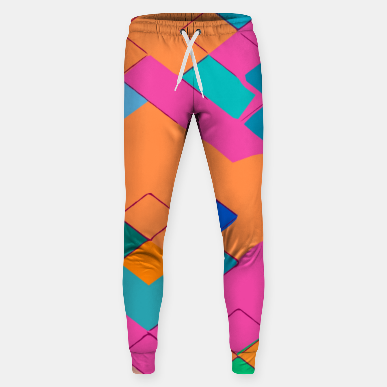 Image of geometric square pixel pattern abstract in pink orange green Sweatpants - Live Heroes
