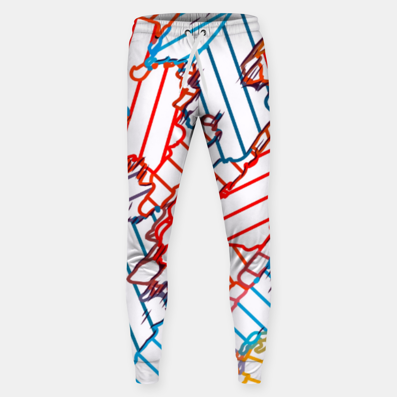 Image of fractal geometric line abstract background in red blue yellow Sweatpants - Live Heroes