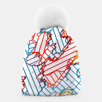 fractal geometric line abstract background in red blue yellow Beanie thumbnail image