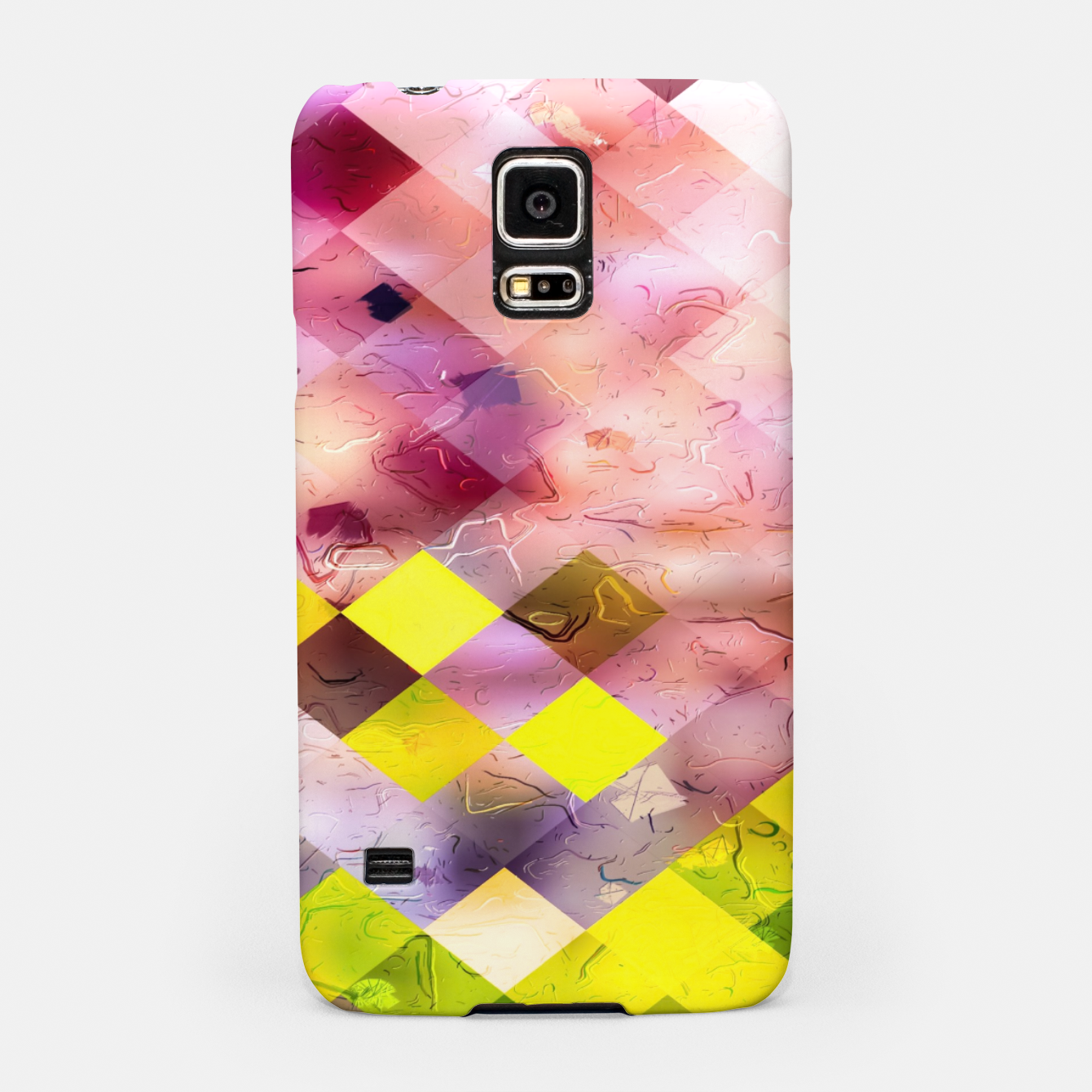 Image of geometric square pixel pattern abstract in green yellow purple Samsung Case - Live Heroes