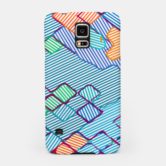 geometric square pixel pattern abstract in blue pink orange Samsung Case thumbnail image