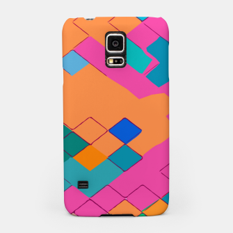 Thumbnail image of geometric square pixel pattern abstract in pink orange green Samsung Case, Live Heroes
