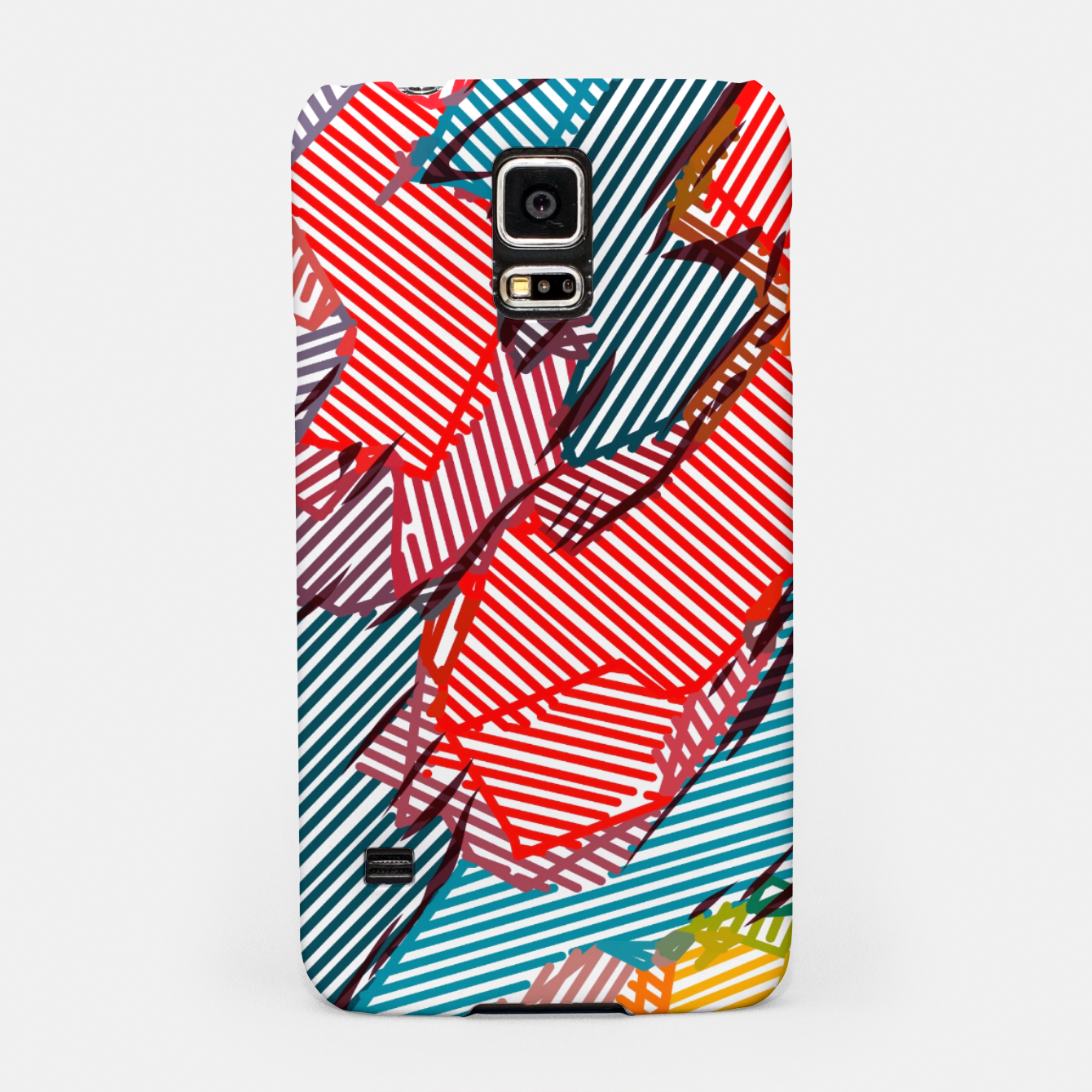 Image of fractal geometric line abstract background in red yellow blue Samsung Case - Live Heroes