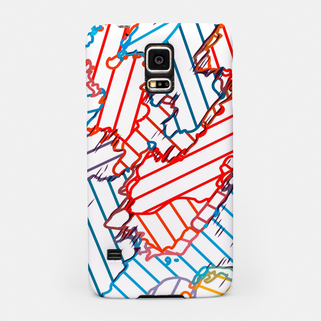 Image of fractal geometric line abstract background in red blue yellow Samsung Case - Live Heroes