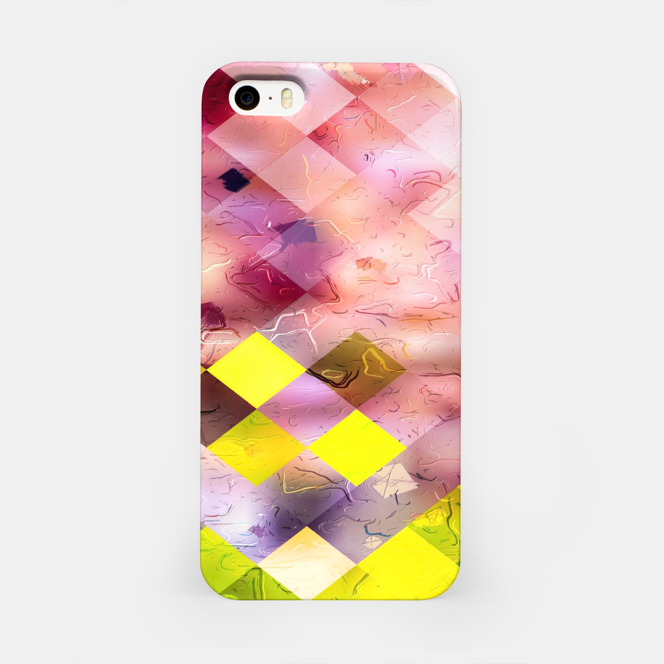 Image of geometric square pixel pattern abstract in green yellow purple iPhone Case - Live Heroes