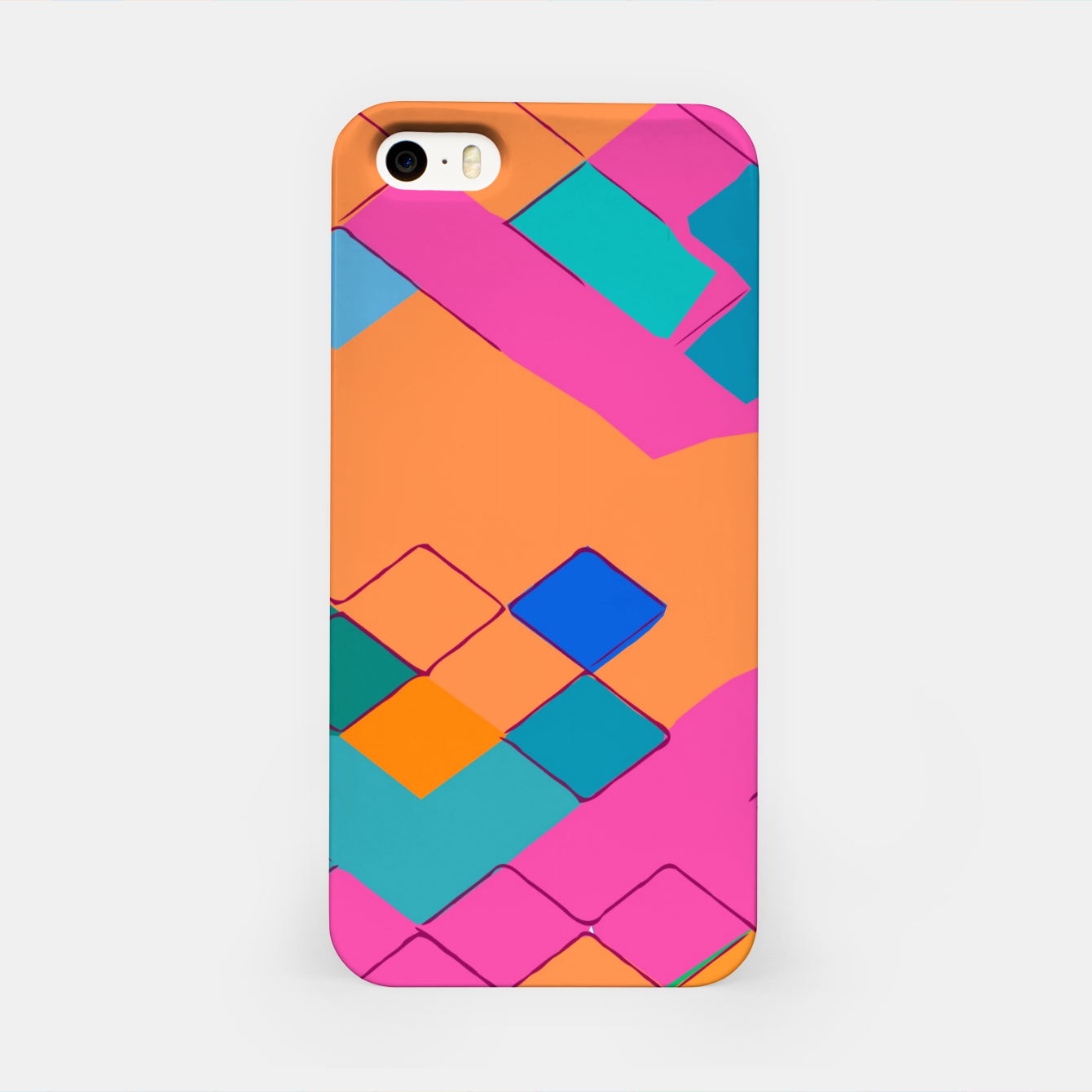 Image of geometric square pixel pattern abstract in pink orange green iPhone Case - Live Heroes