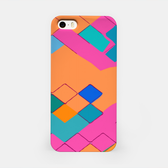 Miniature de image de geometric square pixel pattern abstract in pink orange green iPhone Case, Live Heroes
