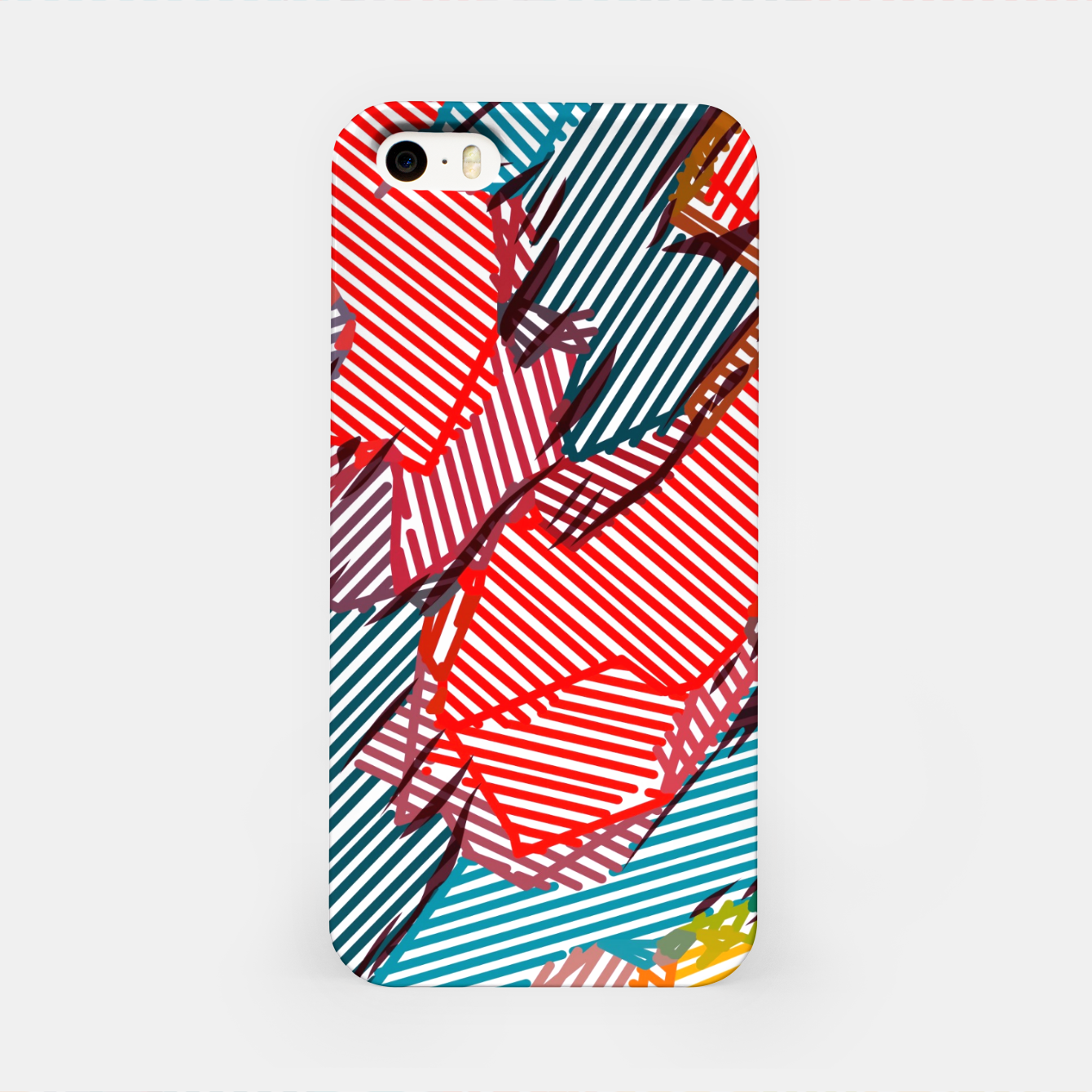 Image of fractal geometric line abstract background in red yellow blue iPhone Case - Live Heroes