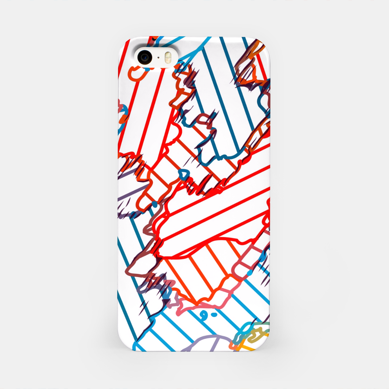 Image of fractal geometric line abstract background in red blue yellow iPhone Case - Live Heroes