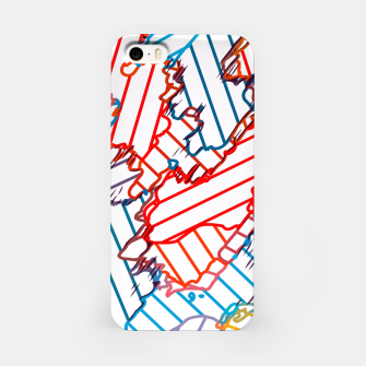 fractal geometric line abstract background in red blue yellow iPhone Case thumbnail image