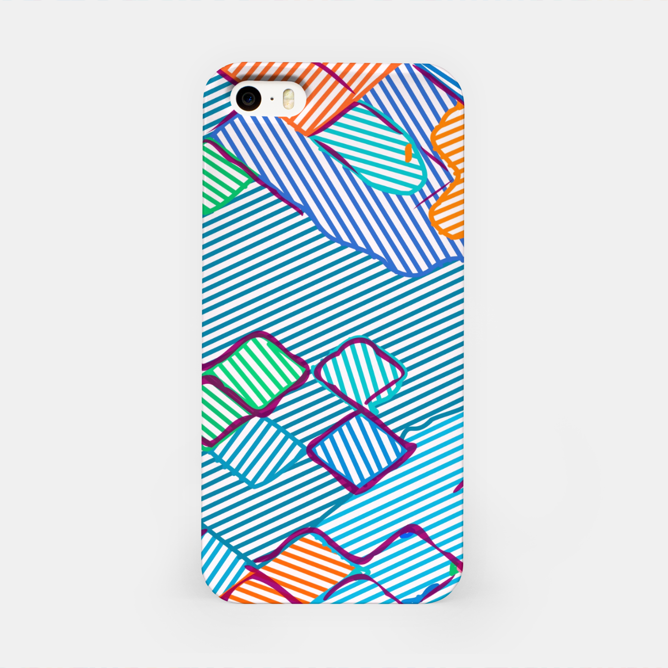 Image of geometric square pixel pattern abstract in blue pink orange iPhone Case - Live Heroes