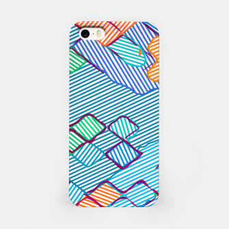 Thumbnail image of geometric square pixel pattern abstract in blue pink orange iPhone Case, Live Heroes