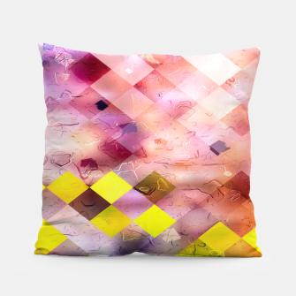 Thumbnail image of geometric square pixel pattern abstract in green yellow purple Pillow, Live Heroes