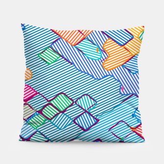 Thumbnail image of geometric square pixel pattern abstract in blue pink orange Pillow, Live Heroes