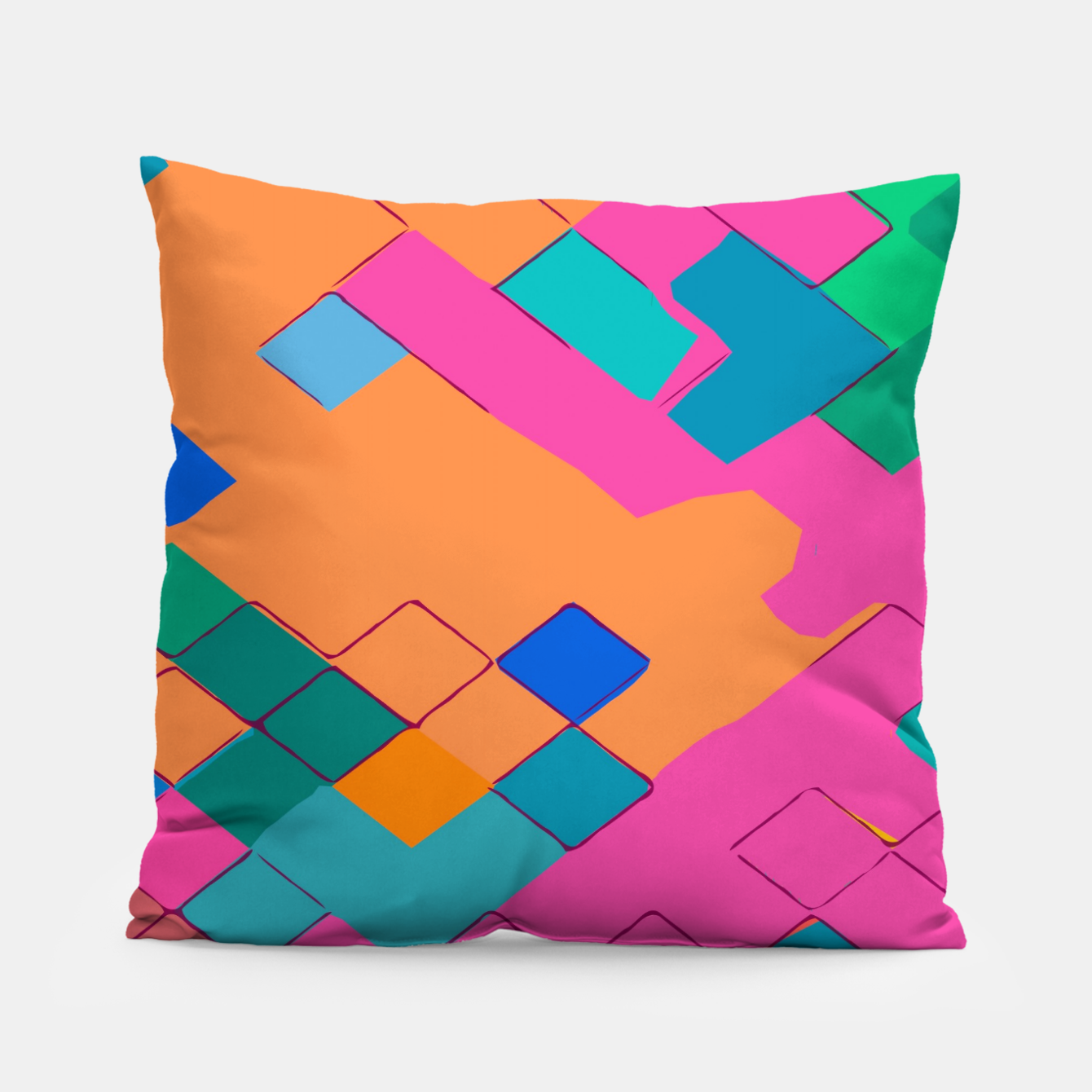 Image of geometric square pixel pattern abstract in pink orange green Pillow - Live Heroes