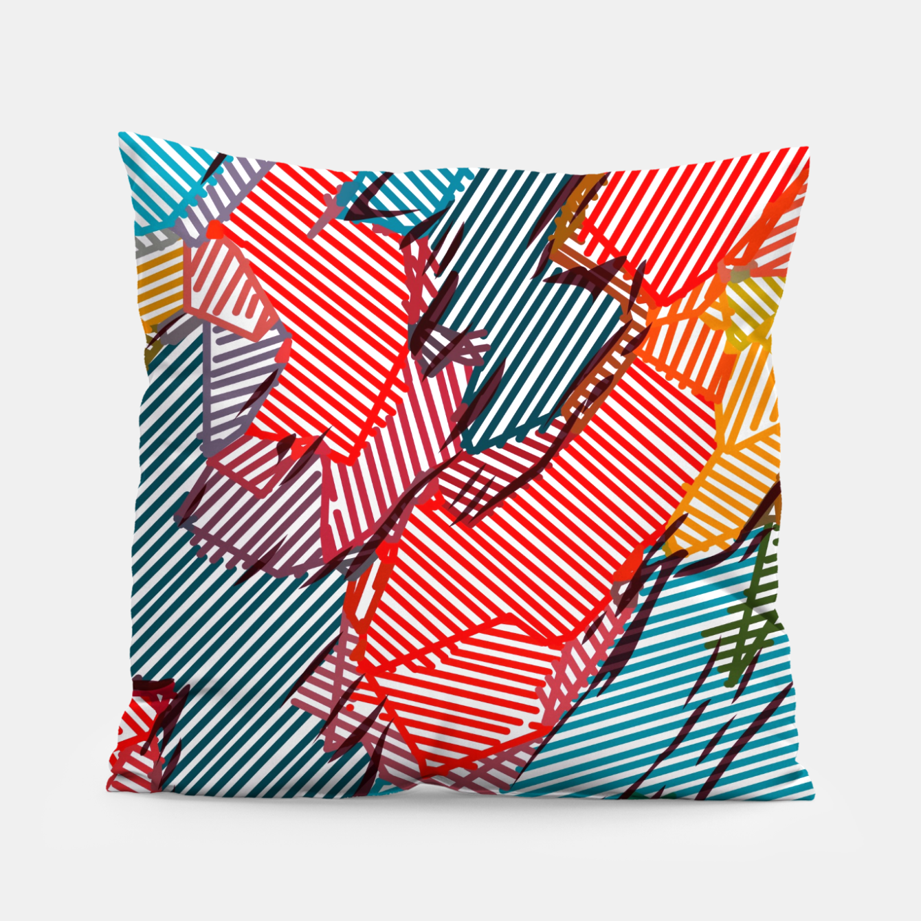 Image of fractal geometric line abstract background in red yellow blue Pillow - Live Heroes