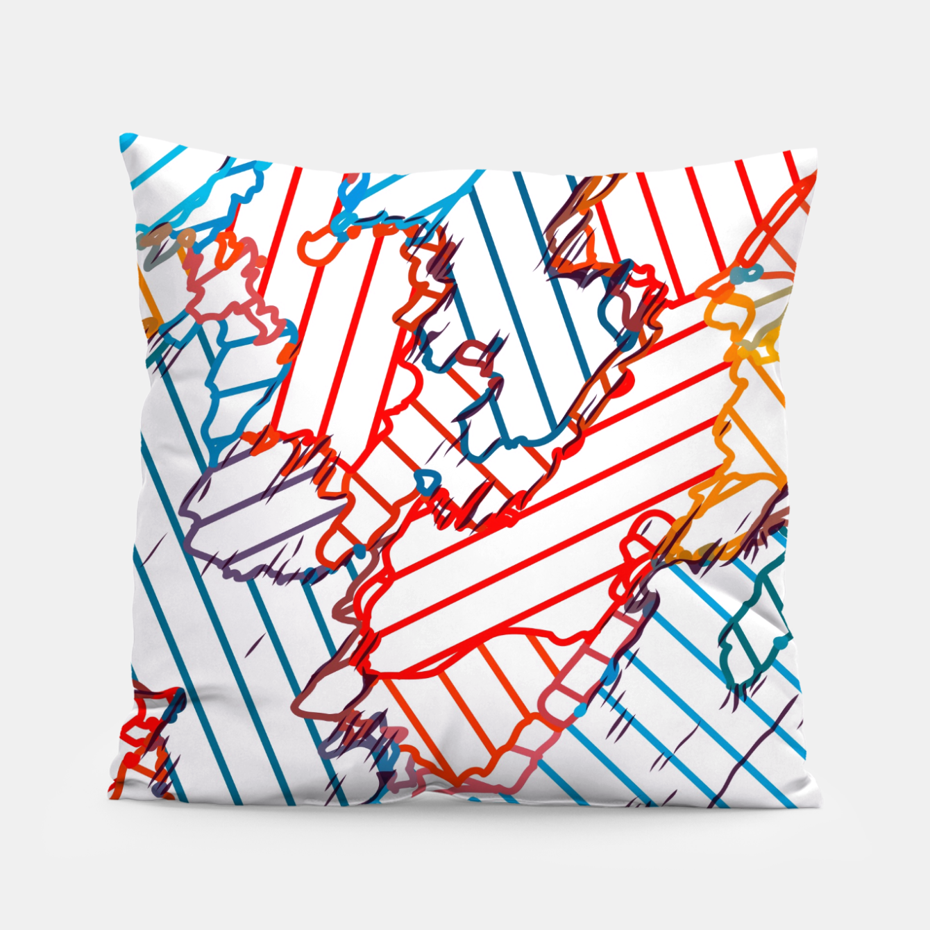 Image of fractal geometric line abstract background in red blue yellow Pillow - Live Heroes