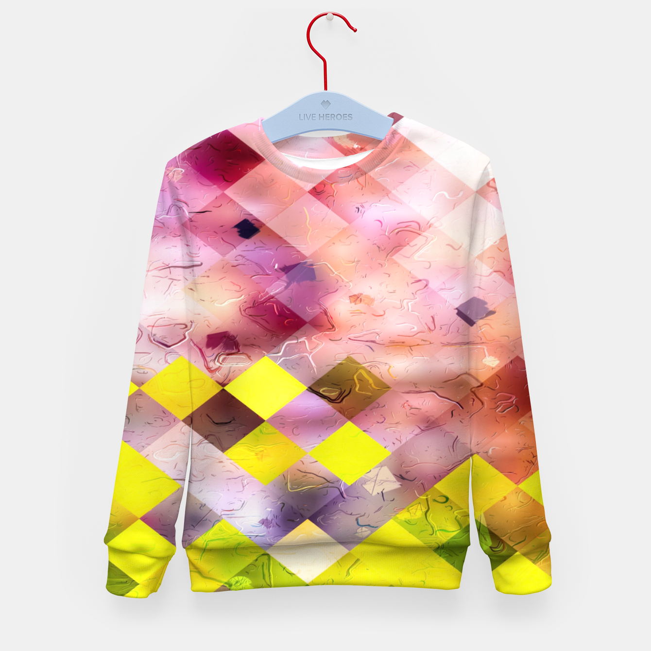 Image of geometric square pixel pattern abstract in green yellow purple Kid's sweater - Live Heroes