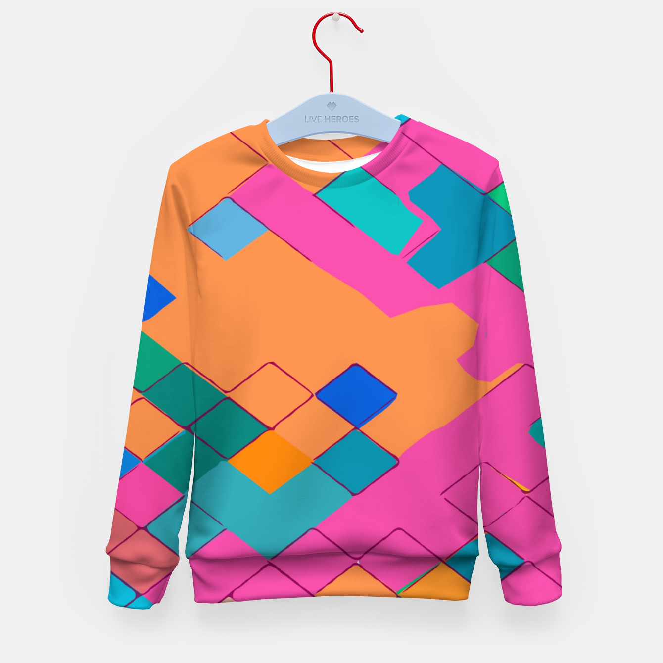 Image of geometric square pixel pattern abstract in pink orange green Kid's sweater - Live Heroes