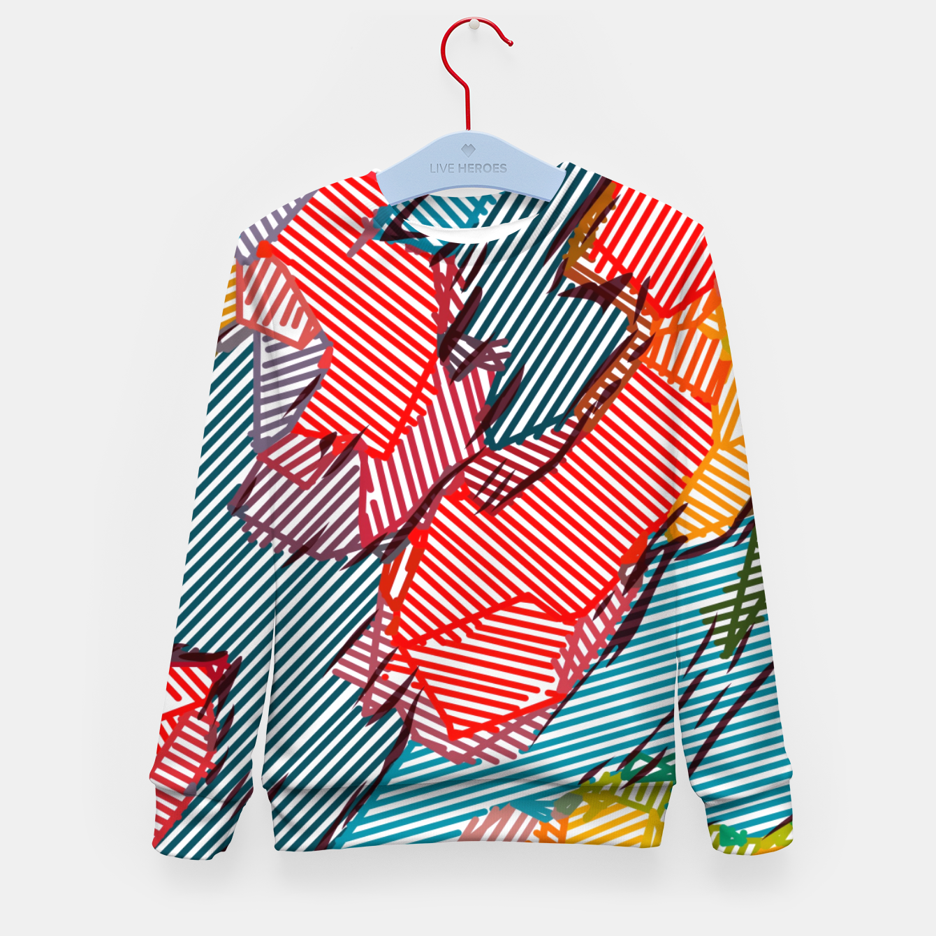 Image of fractal geometric line abstract background in red yellow blue Kid's sweater - Live Heroes