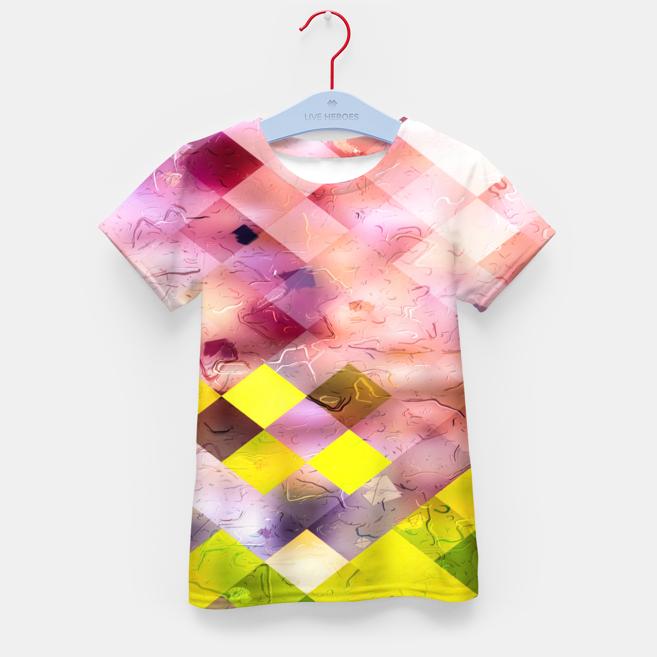 Image of geometric square pixel pattern abstract in green yellow purple Kid's t-shirt - Live Heroes