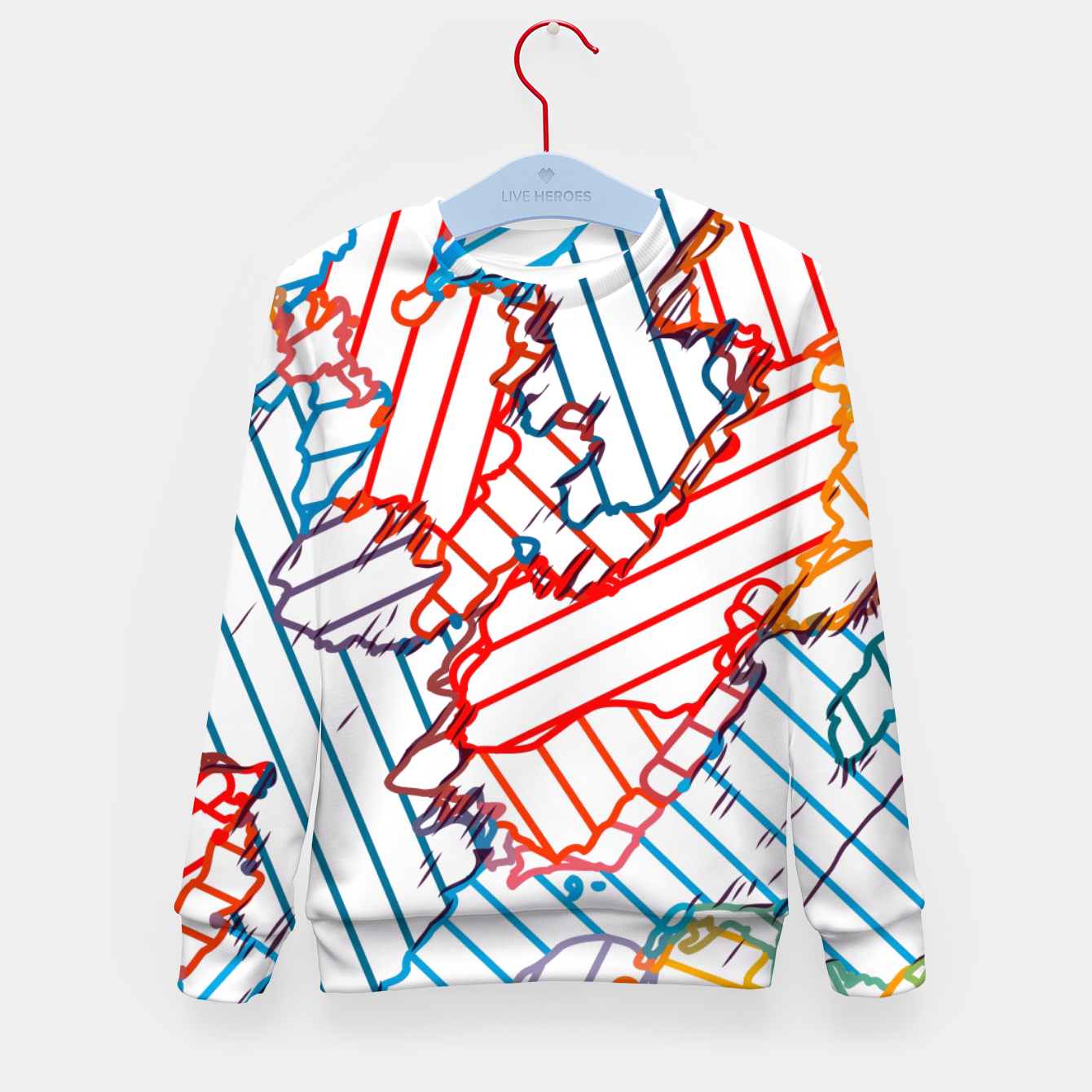 Image of fractal geometric line abstract background in red blue yellow Kid's sweater - Live Heroes