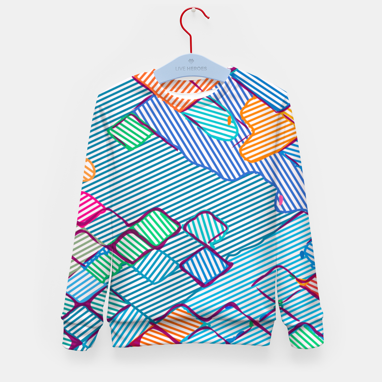 Image of geometric square pixel pattern abstract in blue pink orange Kid's sweater - Live Heroes