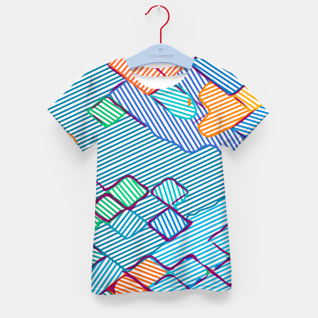 Image of geometric square pixel pattern abstract in blue pink orange Kid's t-shirt - Live Heroes