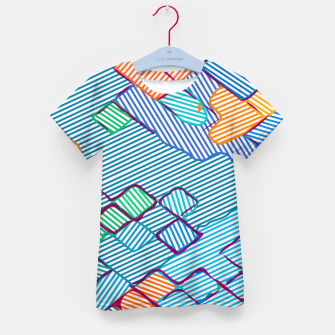 geometric square pixel pattern abstract in blue pink orange Kid's t-shirt thumbnail image