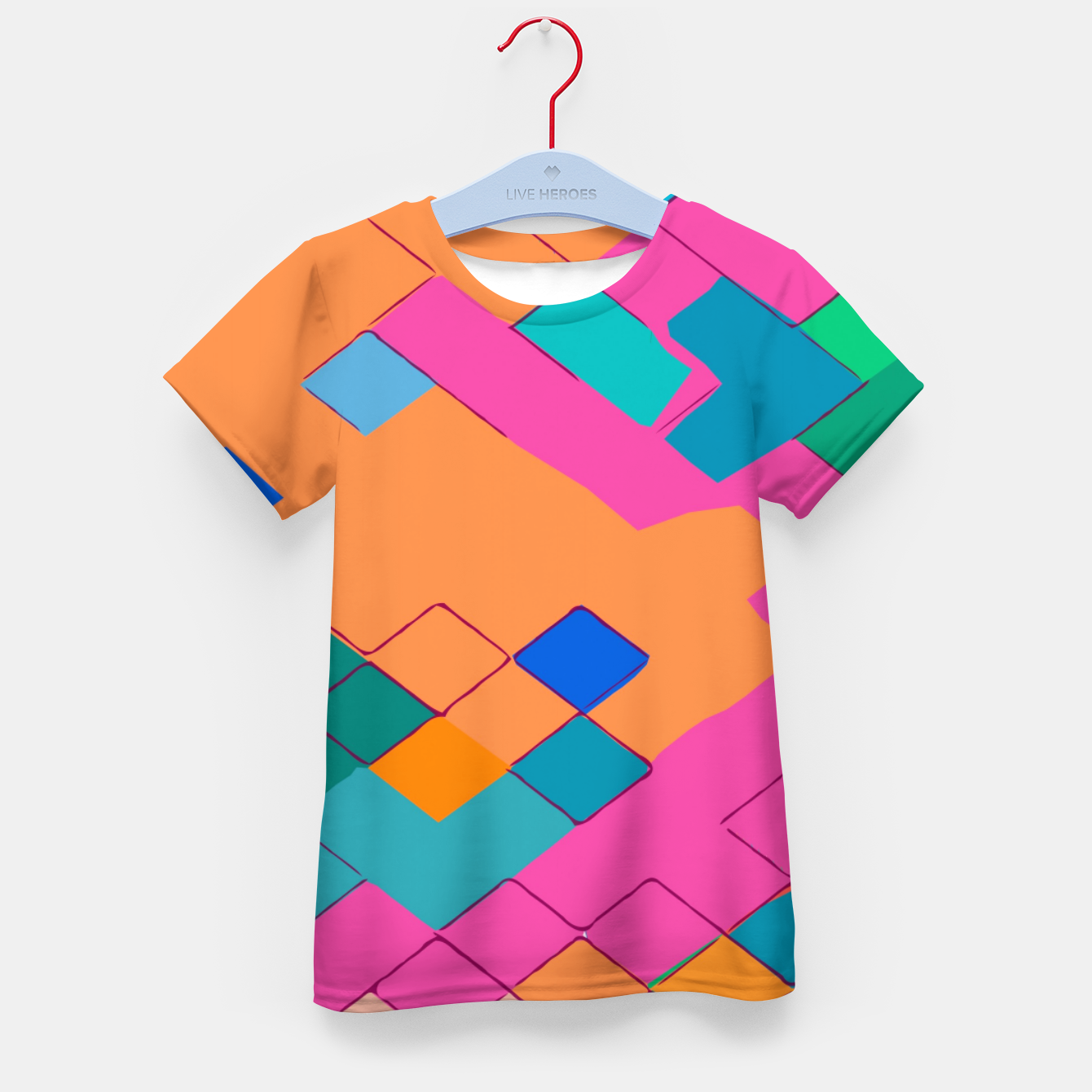 Image of geometric square pixel pattern abstract in pink orange green Kid's t-shirt - Live Heroes