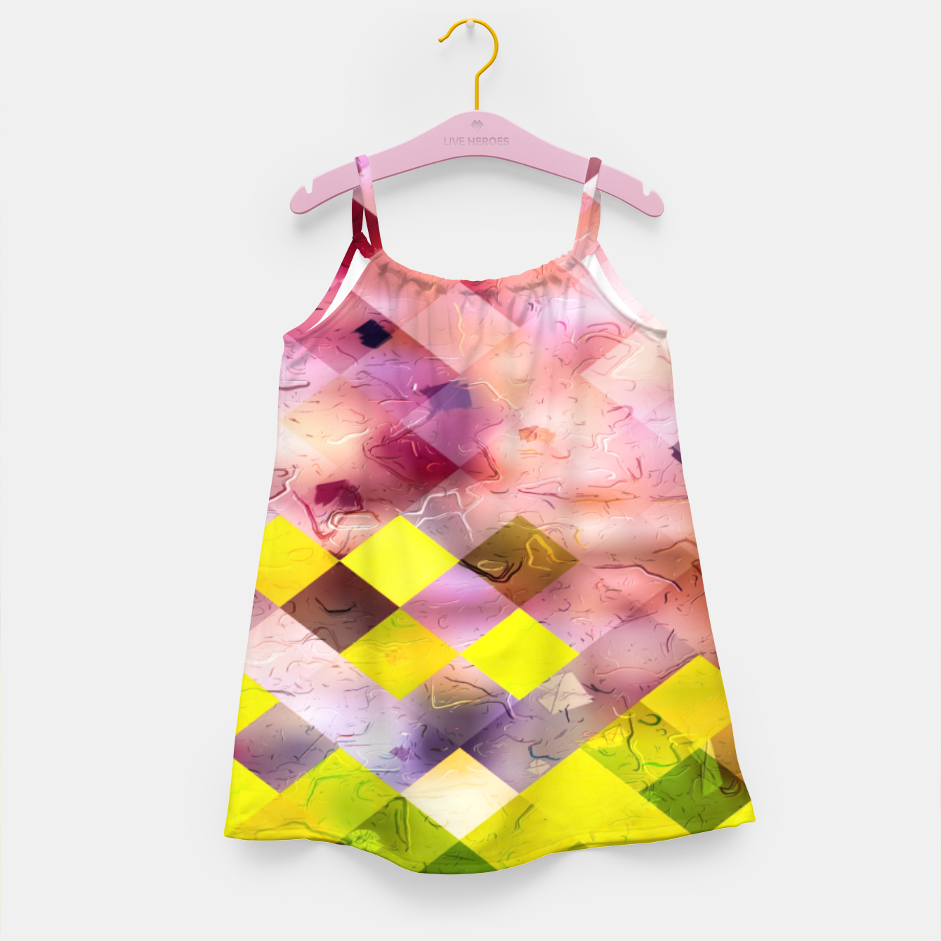 Image of geometric square pixel pattern abstract in green yellow purple Girl's dress - Live Heroes