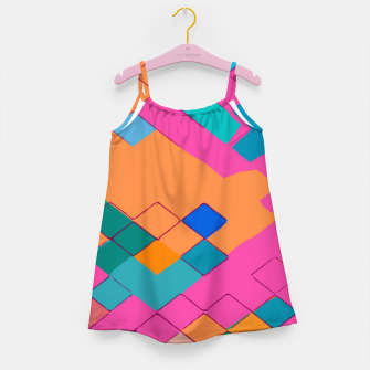 Thumbnail image of geometric square pixel pattern abstract in pink orange green Girl's dress, Live Heroes