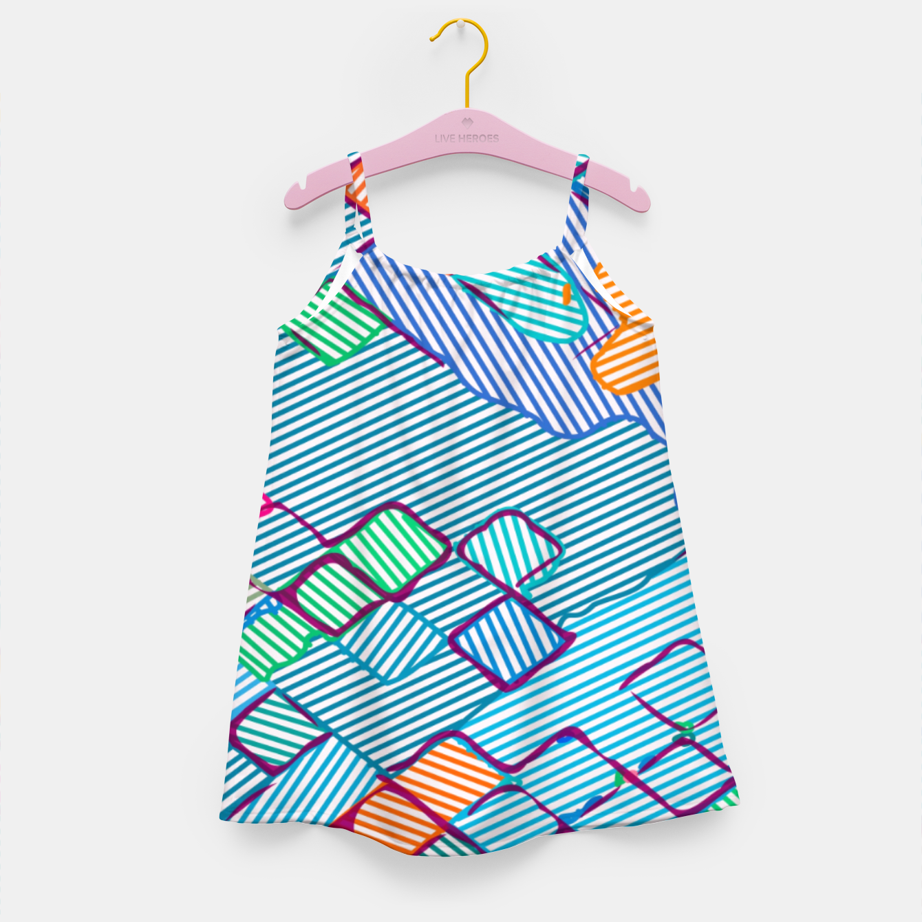 Image of geometric square pixel pattern abstract in blue pink orange Girl's dress - Live Heroes