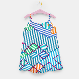 geometric square pixel pattern abstract in blue pink orange Girl's dress thumbnail image