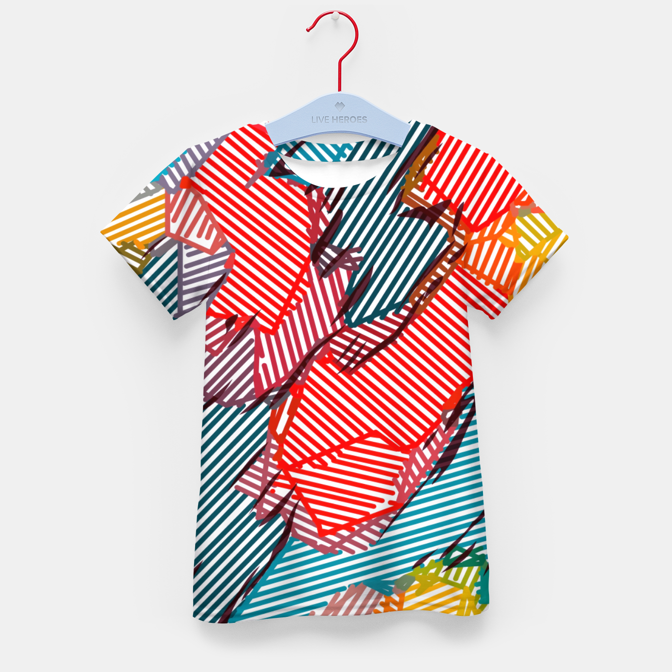 Image of fractal geometric line abstract background in red yellow blue Kid's t-shirt - Live Heroes