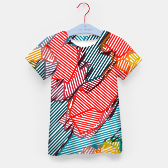 Thumbnail image of fractal geometric line abstract background in red yellow blue Kid's t-shirt, Live Heroes