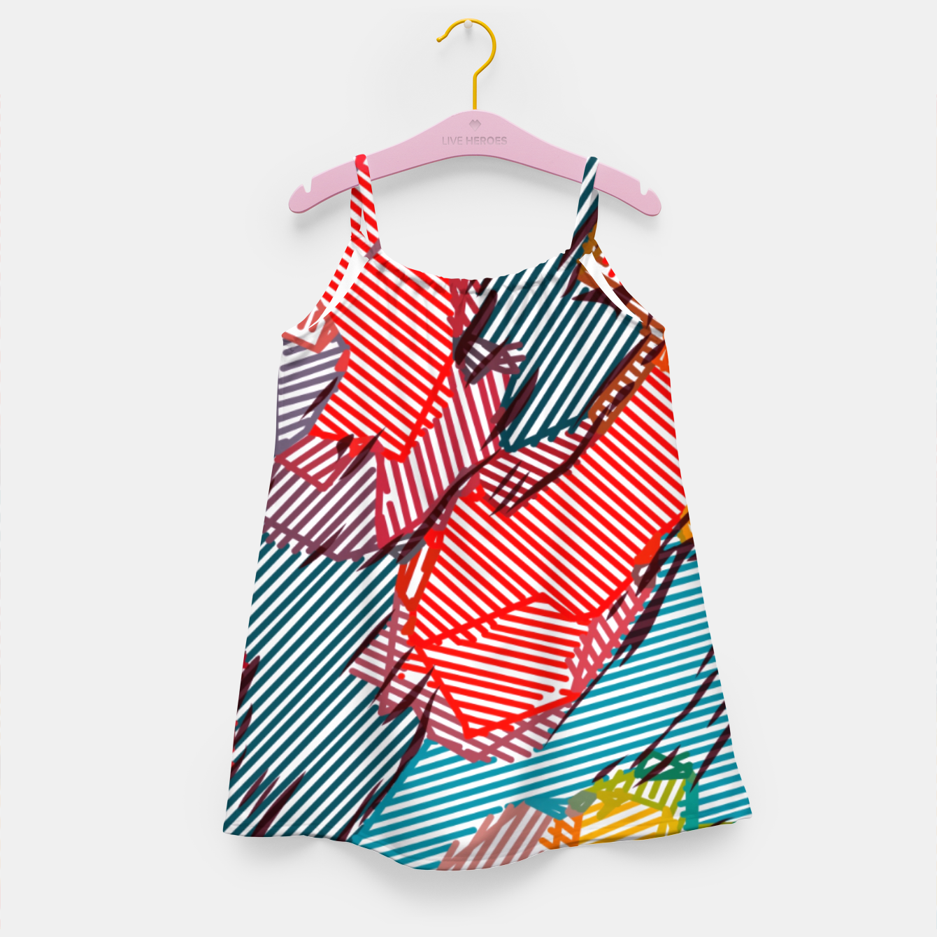 Image of fractal geometric line abstract background in red yellow blue Girl's dress - Live Heroes