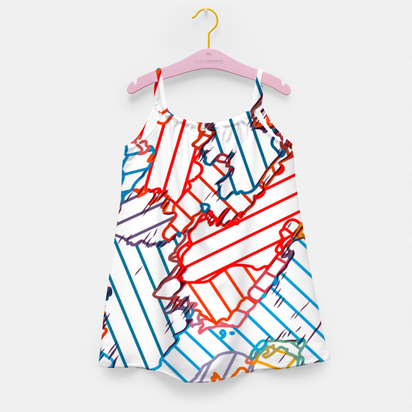 Image of fractal geometric line abstract background in red blue yellow Girl's dress - Live Heroes