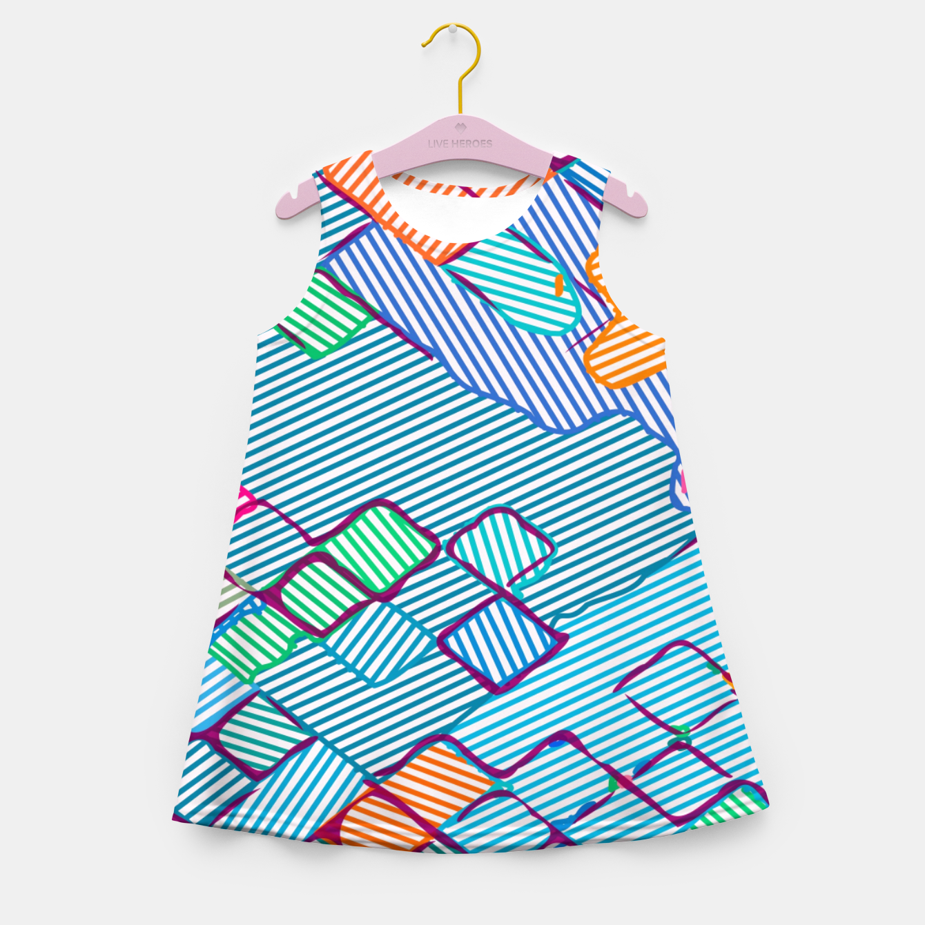 Image of geometric square pixel pattern abstract in blue pink orange Girl's summer dress - Live Heroes