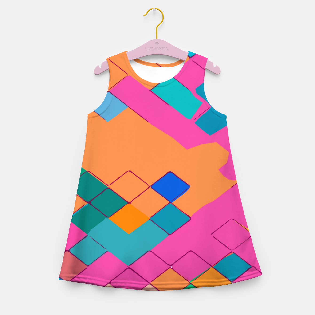 Image of geometric square pixel pattern abstract in pink orange green Girl's summer dress - Live Heroes
