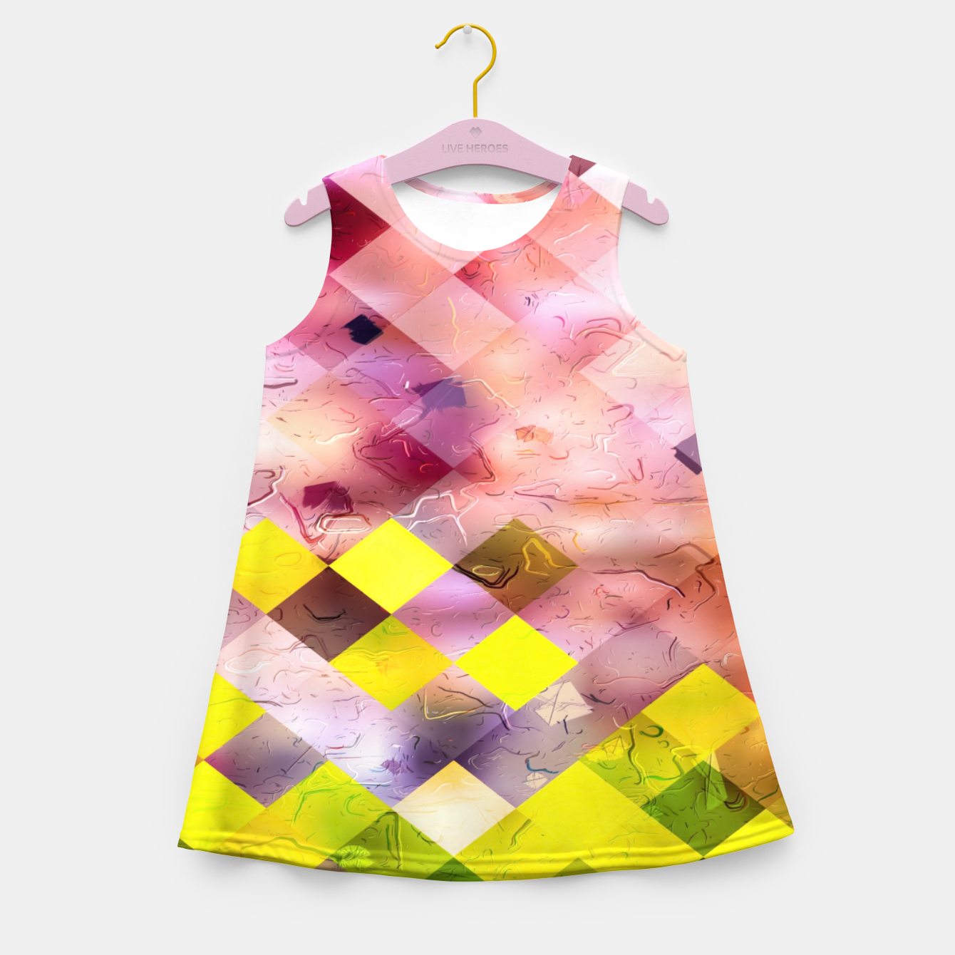 Image of geometric square pixel pattern abstract in green yellow purple Girl's summer dress - Live Heroes