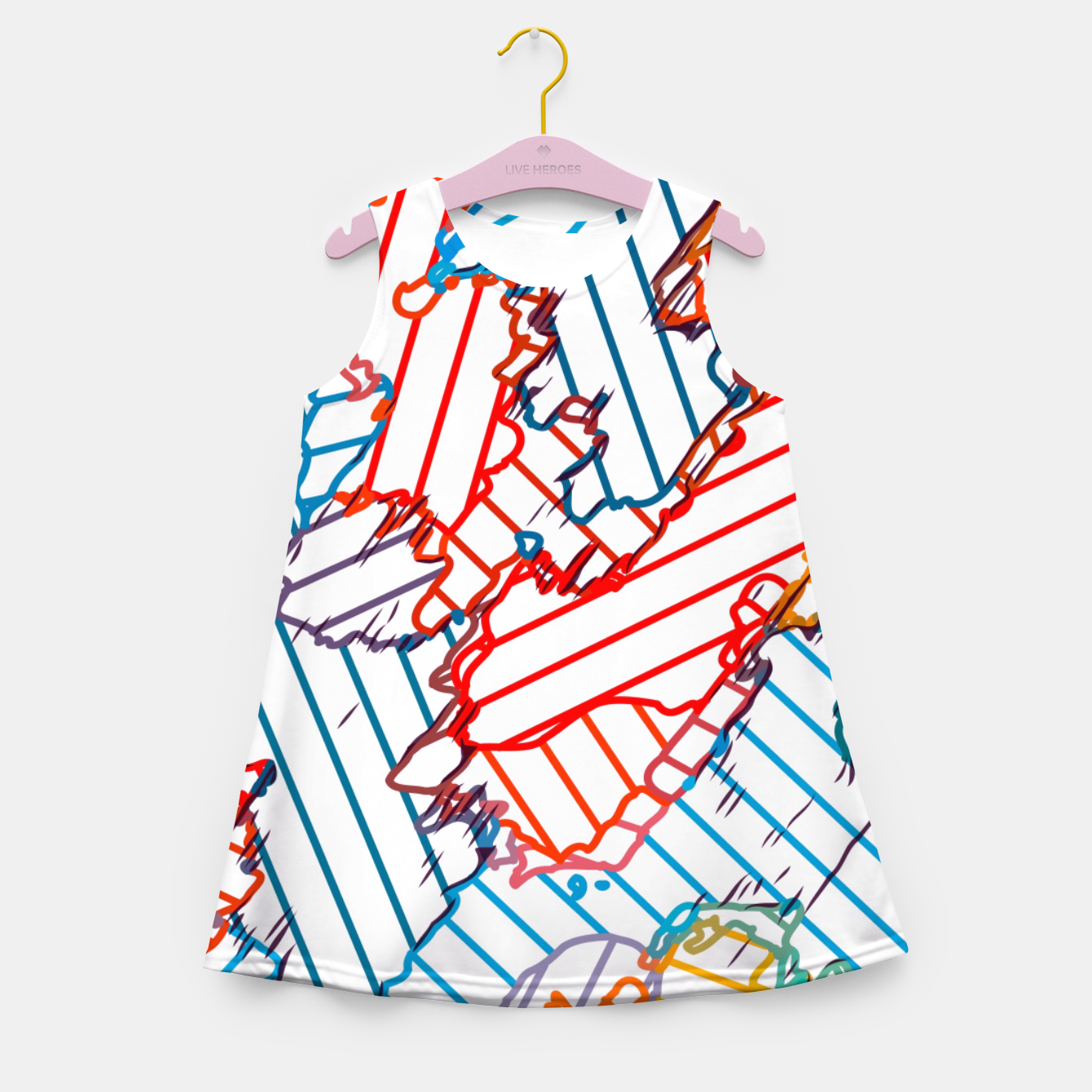 Image of fractal geometric line abstract background in red blue yellow Girl's summer dress - Live Heroes