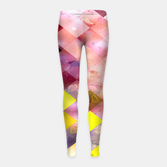 geometric square pixel pattern abstract in green yellow purple Girl's leggings thumbnail image