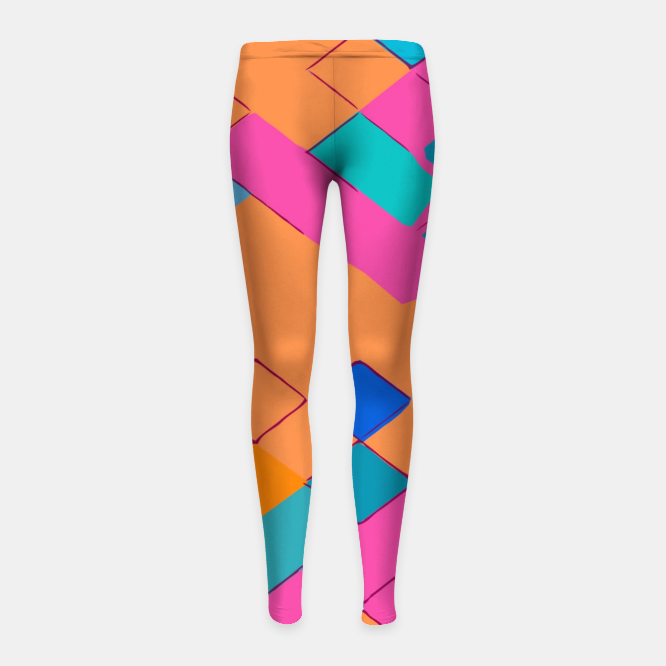 Image of geometric square pixel pattern abstract in pink orange green Girl's leggings - Live Heroes