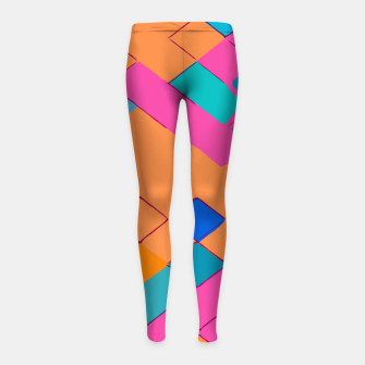 Thumbnail image of geometric square pixel pattern abstract in pink orange green Girl's leggings, Live Heroes