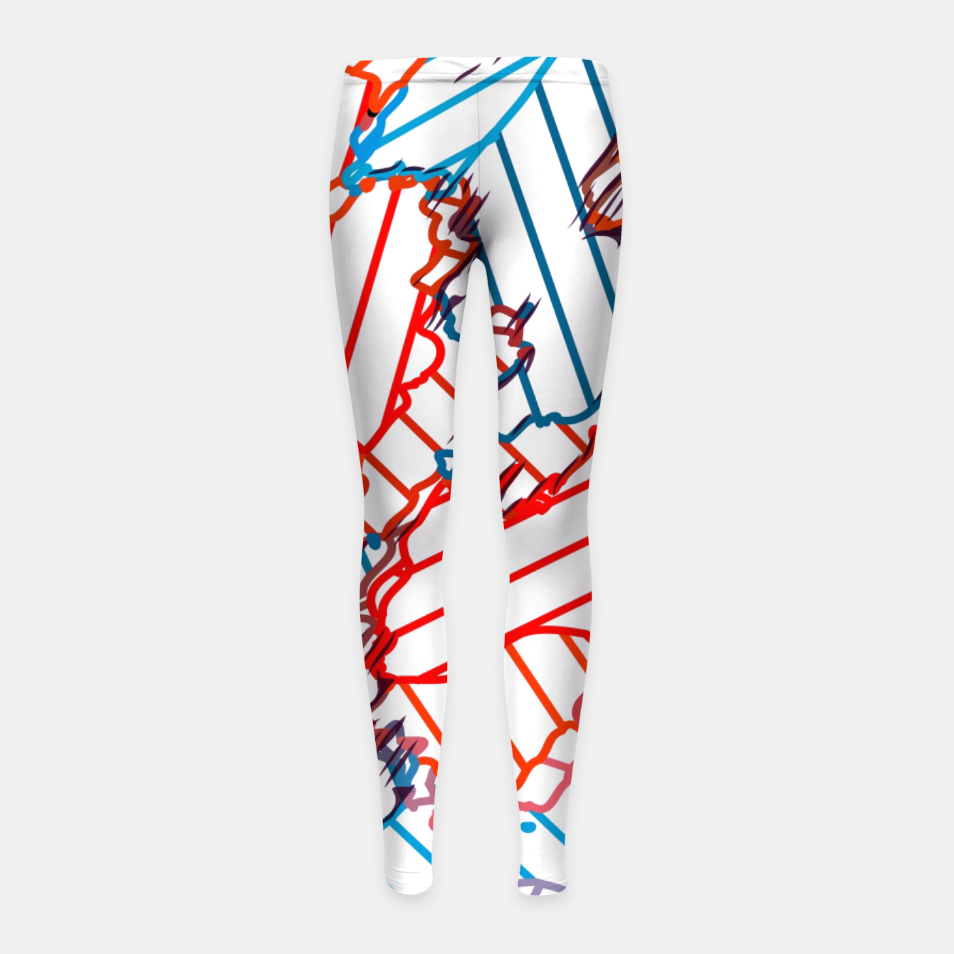 Image of fractal geometric line abstract background in red blue yellow Girl's leggings - Live Heroes